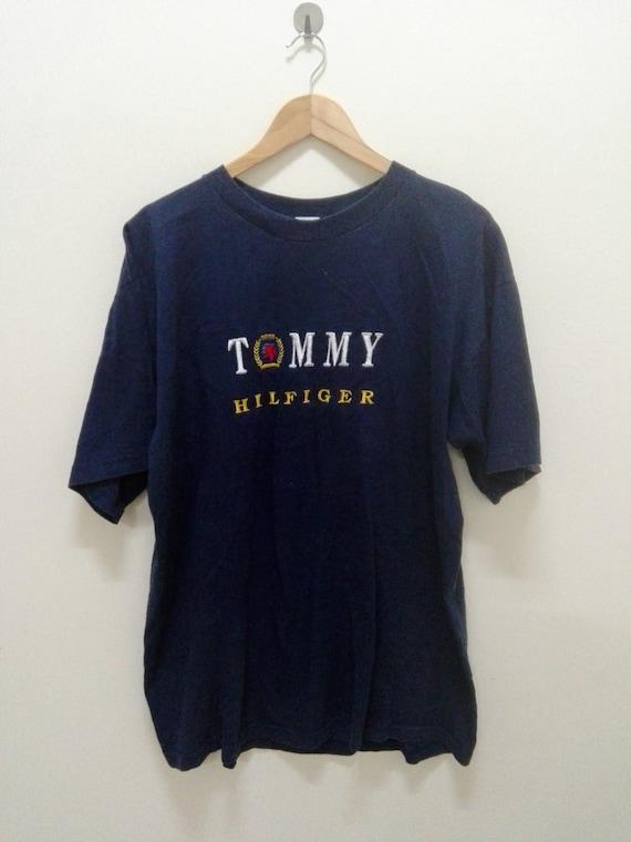 vintage tommy hilfiger crest logo t shirt jeans xl 90s hiphop. Black Bedroom Furniture Sets. Home Design Ideas