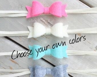 Felt Bow Headband Set, Baby Headband, Choose your color, Baby Bow Headband, Felt Bow Headband, Bow headband set, Itty Bitty Style