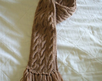 Camel Cabled Scarf