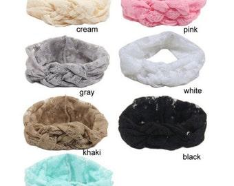 Knotted lace turban headband
