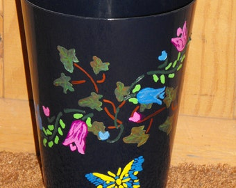 Waste Basket, colorful, stenciled and hand painted, acrylic paint