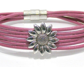 Leather Cord Bracelet with Sunflower Bead