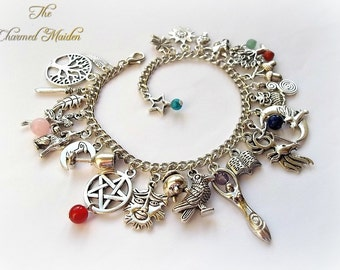 Gemstone Pagan Charm Bracelet, Wiccan, Wicca Bracelet, Goddess Charm Bracelet, Raven, Wolf, Fairy, Green Man, Gemstone Bead Bracelet