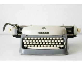 Vintage typewriter made in Western Germany (Alpina)  - Vintage Typewriter - german keyboard - collectible typewriter