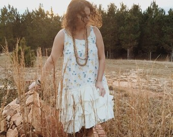 Boho Farm-Girl Ruffled Slip Dress