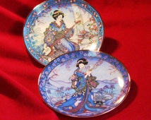 2 plates ROYAL DOULTON, ASIAN, Franklin Mint, Princess of Iris, Plum Blossom Maiden, numbered with certificates, vintage collectible
