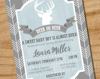 Deer Oh Deer Baby Shower Invitation