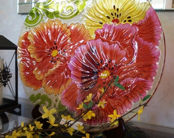 """18"""" hand painted glass bowl with easel/short stand"""