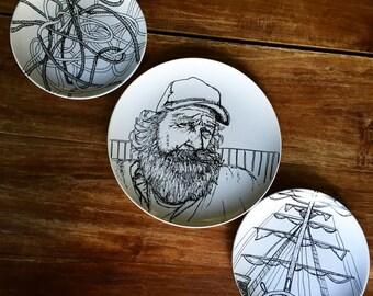 Hand Drawn Nautical Fisherman Three Piece Stoneware Plate Set