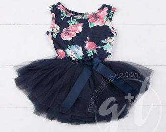 floral dress, floral tutu dress, navy blue floral, tutu dress, flower girl, navy blue flower girl