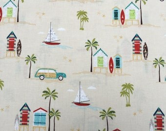 Offshore Beach Scene fabric on tan from Riley Blake Designs.