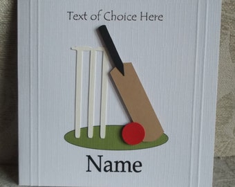 Personalised Cricket Card Any Occasion, Birthday, Congratulations, Thank You, Father's Day etc.