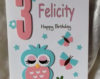 Personalised 1st, 2nd Any Age Owl & Butterflies Birthday Card Daughter,Granddaughter, God Daughter Niece etc