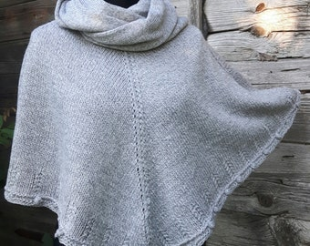 Hand knitted gray poncho, women's poncho, cozy knit wrap, knitted shawl, hand knit cape,hand knit capelet, modern clothing