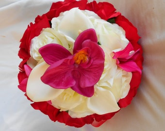 Red, fuchsia and ivory round bride bouquet 2 pieces  made of orchids, calla, and roses