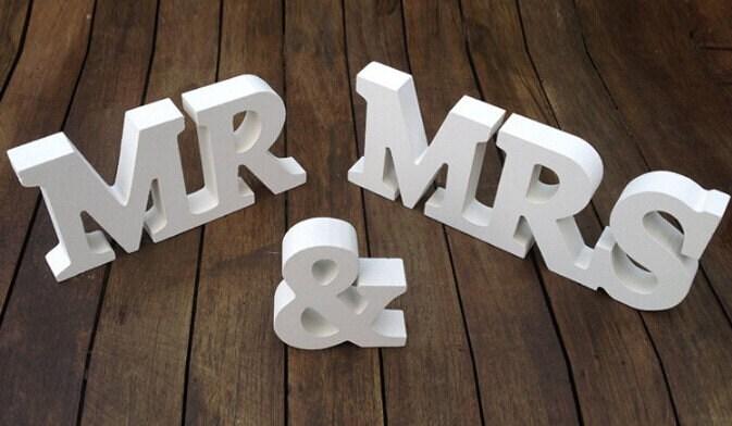 Mr & Mrs White Wooden Block Letters