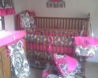 Hot pink, black and white nursery set, hot pink, blank and white baby bedding, damask