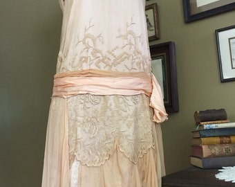 1920's Peach Silk and Netted Embroidered Dress