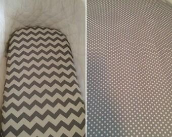 Baby bassinet, Boori, Stokke Sleepi mini, Uppababy, bugaboo, Moses basket fitted sheet 100% cotton - grey and white spots/ chevron/ stripes