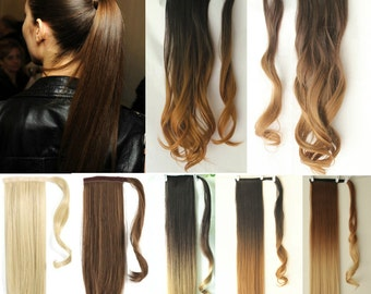 Straight Wavy Dip Dye Ombre Wrap Around Ponytail Clip in Hair Extensions