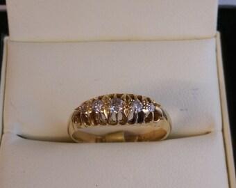 5 Stone 18ct Yellow Gold Diamond Ring Size W.1/2