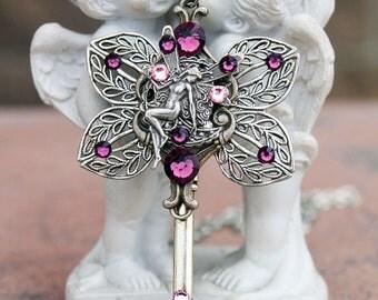 Key necklace, fairy necklace, purple necklace, silver necklace, swarovski necklace