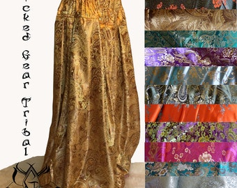 Your color choice, FOUR yard CUSTOM fit brocade belly dance pantaloons harem pants tribal dance pants bloomers ATS pantaloons your size