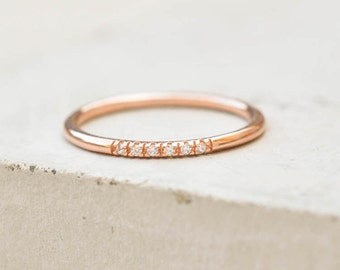 Petite, Dainty Ultra thin Stacking Band Ring with 6 mini micropave CZ Stones - ROSE GOLD - quarter eternity band