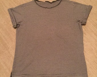 Striped 90s Grunge Tee- Womens Small