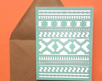 Just because card - handmade laser cut greeting with mint southwest pattern