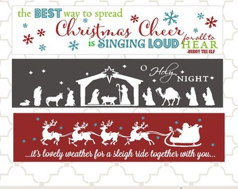 SVG Christmas Sleigh Nativity Elf Cheer PNG EPS digital