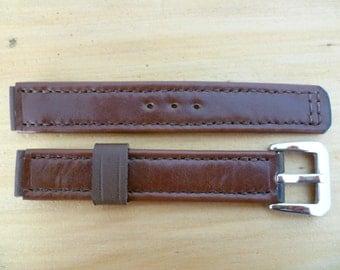 Watch strap, genuine Italian calf leather, color: dark brown.