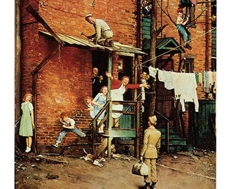 Home Coming GI from May 26, 1945 from Saturday Evening Post painted by Norman Rockwell