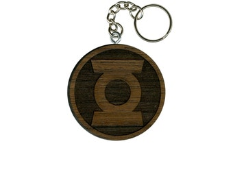 Green Lantern Key Chain - Laser Engraved Keychain - Multiple Wood Options: Cherry, Walnut - DC Comic Book Superhero Hal Jordan John Stewart