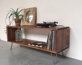 Stanton Record Player Stand  LP Vinyl Storage Cabinet  Console Coffee Table on Mid Century Hairpin Legs