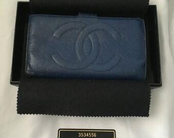 Authentic Chanel blue caviar wallet