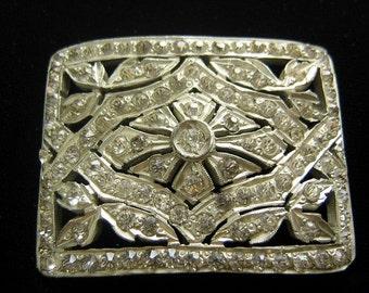 Signed Frank Bros silvery Art Deco rhinestone buckle
