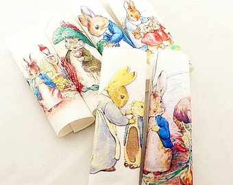 "Beatrix Potter Fabric Hand Printed Bunny Children Nursery Fabric Cotton Linen Fabric Bag Case Fabric One Panel 6""X6"" (15cm X 15cm) h50"