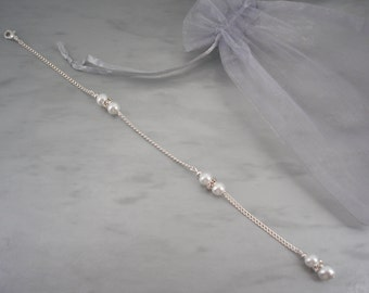 Margaret ~ Backdrop attachment for a necklace, Pearls & Diamantes, Clip on back necklace, Back chain, Back drop