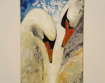 Cigni- Swans -  Original modern oil painting. Wall Art. Boat - Lake.Contemporary Art - Fine art