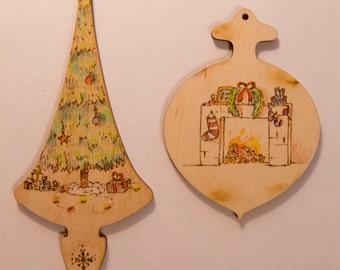 Christmas tree toys natural wood handmade, Burned and cloured, Christmas decoration, Christmas tree decor, wooden decoration