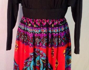 Vintage Black w/ print  Raymodes N.Y. Dress