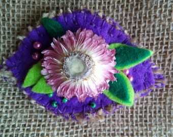 Real Flower brooch, flower brooch pin, real flower brooch, nature lover brooch, boho jewelry, textile jewelry