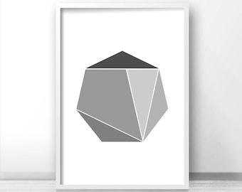 Gray Wall Art Print, Geometric Art, Digital Download Modern Wall Print, Gray Decor, Printable Digital Art, Office Wall Art, Abstract Art