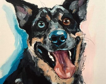 Pet Portrait - Fun Caricature Painting in Acrylic and Ink