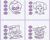 Monster Faces PYO Cookie Stencils (4 separate stencils)