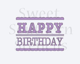 Happy Birthday Rectangle Cookie Stencil