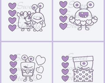 PYO: Valentines Monsters Cookie Stencils (4 separate stencils)