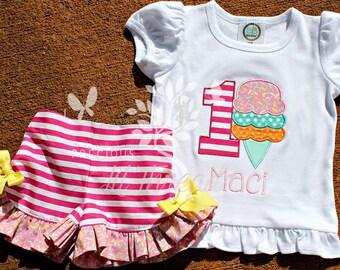 Girls Monogrammed Birthday Shirt- Ice Cream outfit- Toddler Girls Shirt- Baby Girls Ice cream Shirt- 6m, 12m, 18m, 2t, 3t, 4t, 5t, 6, 8