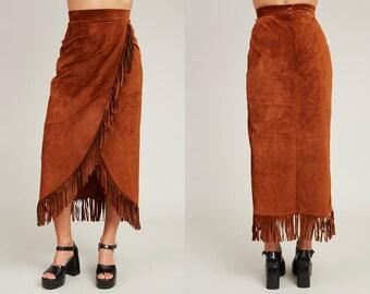 1990s Danier Brown Leather Western Fringe Skirt • XS